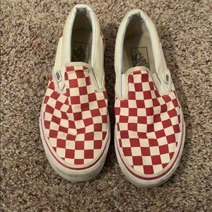 Red and white checkered vans women's size 7